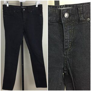 FREE PEOPLE Gold Glitter Detail Skinny Jeans